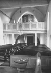 Kirche, Blick zur Orgel, Foto: Ernst Witt, Hannover, Juli 1957