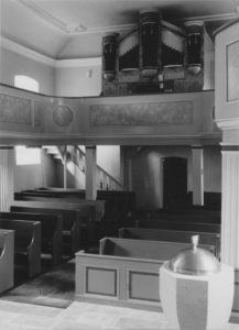 Kirche, Blick zur Orgel, Foto: Ernst Witt, Hannover, August 1966