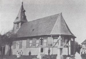 Kirche, Ansicht von Südosten, vor der Erweiterung nach Westen im Jahr 1895