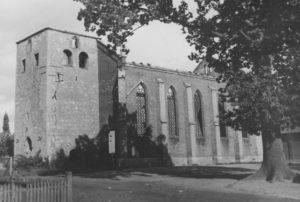 Kirche, Ansicht von Südwesten, 1950, Foto: Photo-Lehmann, Clauen