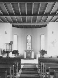 Kirche, Blick zum Altar, Foto: Ernst Witt, Hannover, Juli 1961