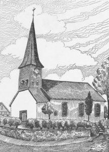 Kirche, Ansicht von Südwesten, Zeichnung von Herbert van Dam, 1952