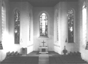 Kirche, Blick zum Altar, um 1955