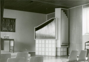 Kirche, Blick zu Altar und Orgel, nach 1964 (1964 Orgelneubau)