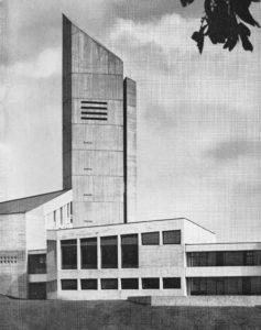 Kirche, Außenansicht, um 1967, Foto: Kurt Hölscher, Hannover, Friedr. W. Reimers, Hildesheim oder Hans Wagner, Hannover