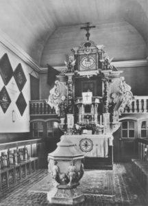 Kirche, Blick zum Altar, 1952