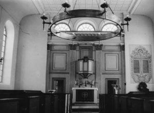Kirche, Blick zum Altar, vermutlich 1957 (?)