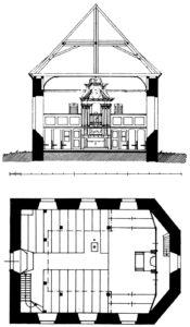 Kirche, Querschnitt (Blick zu Altar), Grundriss, 1929