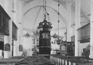 alte Kirche, 1895 abgerissen, Blick zum Altar