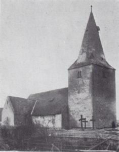 alte Kirche, bis auf den Turm 1890 abgebrochen, Ansicht von Nordwesten, Foto: Fritz Helbsing, Peine, vor 1890