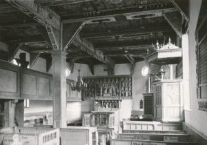 Kirche, Blick zum Altar, vor 1961,