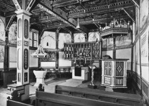 Kirche, Blick zum Altar, Postkarte, Foto: Foto-Moebus, Groß Lafferde, nach 1965