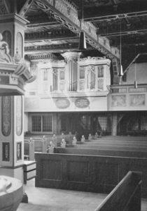 Kirche, Blick zur Orgel, Foto: Ernst Witt, Hannover, August 1964