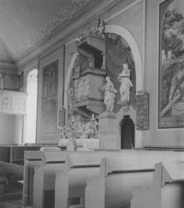 Kirche, Blick zum Altar, Foto: Ernst Witt, Hannover, Juli 1951