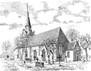 Kirche, Ansicht von Südosten, Zeichnung, Alfred Brecht, 1950