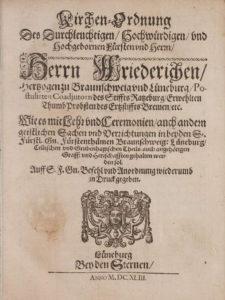 Titelblatt der Lüneburger Kirchenordnung von 1643