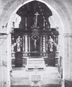 Ehemaliger Altaraufsatz, 1738 datiert, vor 1888