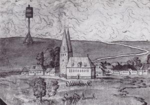 Altenbruch mit Kirche, Ansicht von Südosten, 1568, Ausschnitt aus: Melchior Lorichs, Elbkarte, 1568