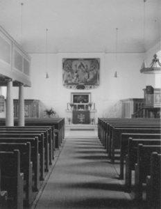 Neue Kirche, Blick zum Altar, Foto: Ernst Witt, Hannover, August 1959