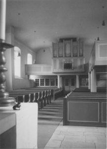 Neue Kirche, Blick zur Orgel, Foto: Ernst Witt, Hannover, August 1959