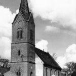 Kirche, Ansicht von Südwesten, 1958 (?), Foto: Karl Linde, Turmspezialist, Berlin