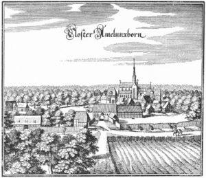 Kloster, Ansicht von Norden, 1652, Merian