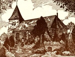 Kirche, Ansicht von Südosten, 1948, Zeichnung von Herbert van Dam