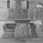 """Flügelaltar, Taufe, um 1948; mit Skulptur """"Jesus segnet die Kinder"""""""
