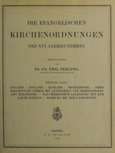 Titelblatt Evangelische Kirchenordnungen des 16. Jahrhunderts Bd. 5