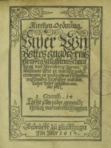 Titelblatt der Schaumburger Kirchenordnung von 1614
