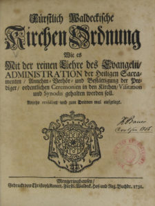 Titelblatt der Waldecker Kirchenordnung von 1731