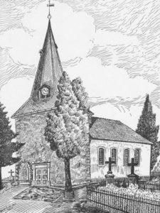 Kirche, Ansicht von Südwesten, Zeichnung von Herbert van Dam, 1953