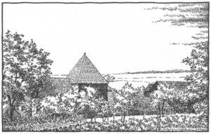 Kapelle, Ansicht von Nordosten, Zeichnung von E. Kühlhorn, 1970