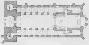 Kirche, Grundriss, Lithographie: August Curtze, Hannover, vor 1878