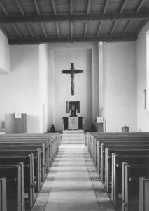 Kirche, Blick zum Altar, Foto: Ernst Witt, Hannover, 1956