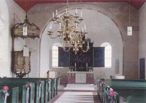 Kirche, Blick zum Altar, um 1980, Postkarte, Fotograf: Annäus Müller, Backemoor