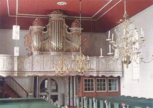 Kirche, Blick zur Orgel, um 1980, Postkarte, Fotograf: Annäus Müller, Backemoor