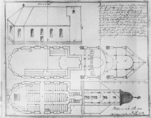 Kirche, Grundrisse, Querschnitte, Aufriss der Kirche von 1735, 1811, Zeichnung