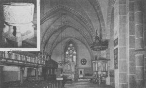 Kirche, Blick zum Altar, Taufstein, um 1948