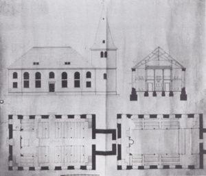 Kirche, Grundrisse, Querschnitt (Blick zum Altar), Außenansicht von Norden, Entwurfszeichnungen von F. A. L. Hellner, 1825