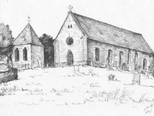 Kirche, Ansicht von Südwesten, 1954, Zeichnung von D. Renth
