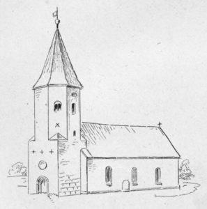Kirche, Ansicht von Südwesten, Lithographie: August Curtze, Hannover, 1878