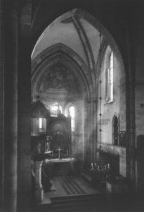 Kirche, Blick in den Chorraum, um 1960