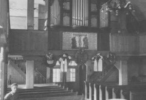 Kirche, Blick zur Orgel, um 1953
