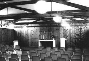 Gemeindehaus, Gemeindesaal, Blick zum Altar, 1968