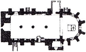 Ehemalige Kirche (1826/27 durch einen Neubau ersetzt), Grundriss, 1877