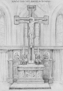 Altar mit Kruzifix, 1952, Zeichnung (Druck)