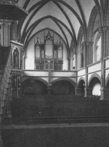 Kirche, Blick zur Orgel, Foto: Ernst Witt, Hannover, Juni 1958