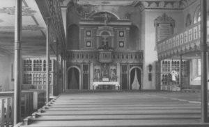 Kirche, Blick zum Altar, 1950, Postkarte