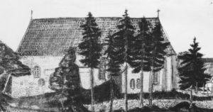 ehem. Kirche, Ansicht von Süden, 1837, Tuschezeichnung von stud. theol. Friedrich Wilhelm Wiedemann